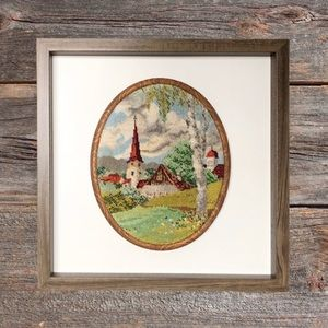 """Vintage petit point """"Country Church"""" embroidery."""